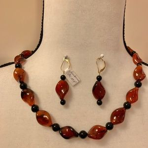 "20"" Burnt orange blown glass necklace and earrings"
